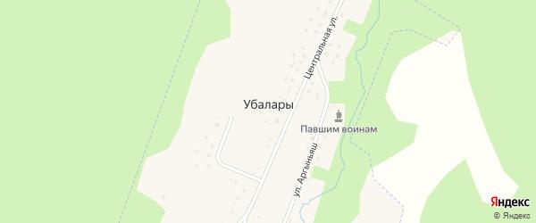 Набережная улица на карте деревни Убалары с номерами домов