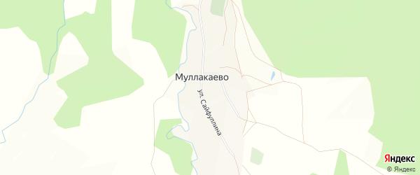 Карта деревни Муллакаево в Башкортостане с улицами и номерами домов