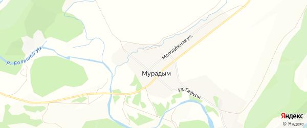 Карта деревни Мурадыма в Башкортостане с улицами и номерами домов