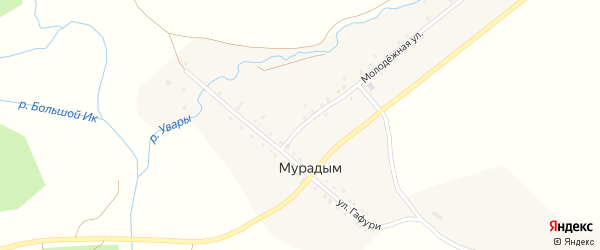 Молодёжная улица на карте деревни Мурадыма с номерами домов