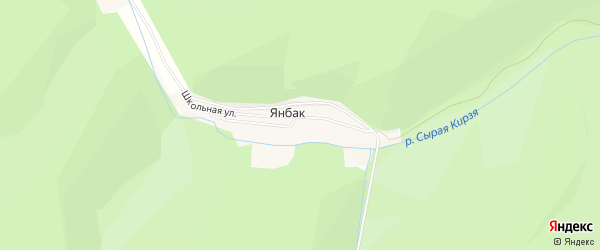 Карта деревни Янбака в Башкортостане с улицами и номерами домов
