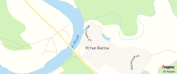 Мостовая улица на карте деревни Устье-Бассы с номерами домов