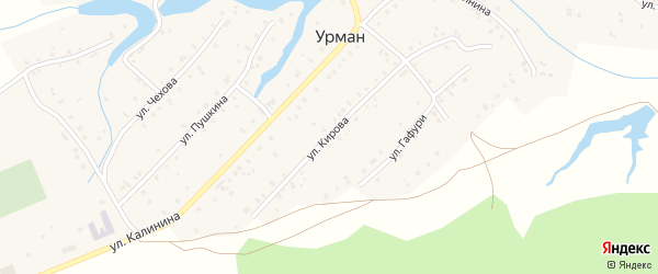 Улица Кирова на карте села Урмана с номерами домов