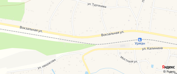 Вокзальная улица на карте села Урмана с номерами домов