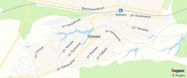Карта села Урмана в Башкортостане с улицами и номерами домов