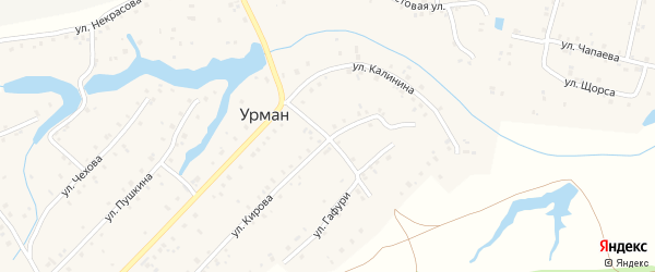 Улица М.Гафури на карте села Урмана с номерами домов