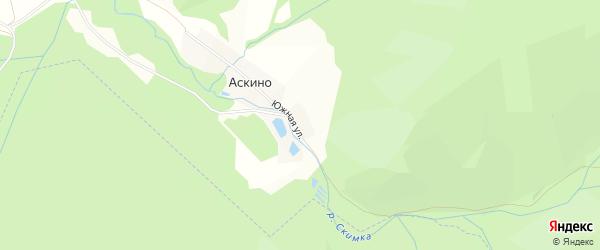 Карта деревни Аскино в Башкортостане с улицами и номерами домов