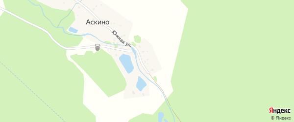 Южная улица на карте деревни Аскино с номерами домов