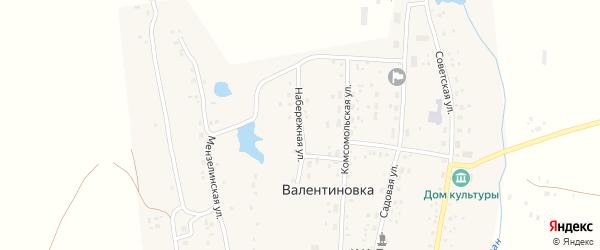 Набережная улица на карте села Валентиновки с номерами домов