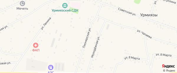 Пионерская улица на карте села Урмиязы с номерами домов