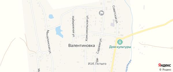 Комсомольская улица на карте села Валентиновки с номерами домов