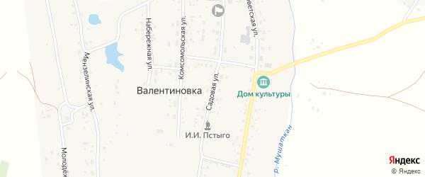 Садовая улица на карте села Валентиновки с номерами домов