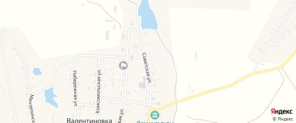 Советская улица на карте села Валентиновки с номерами домов