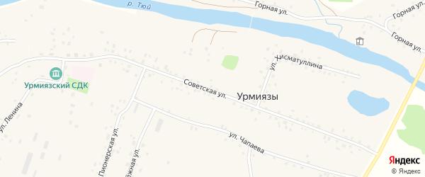 Советская улица на карте села Урмиязы с номерами домов
