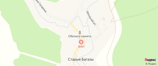 Центральная улица на карте деревни Старые Багазы с номерами домов