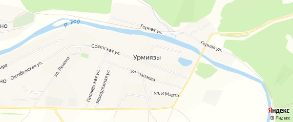 Карта села Урмиязы в Башкортостане с улицами и номерами домов