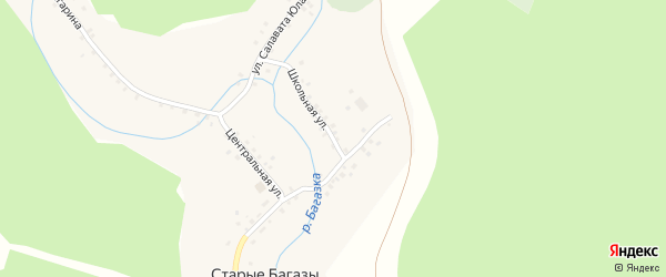 Школьная улица на карте деревни Старые Багазы с номерами домов