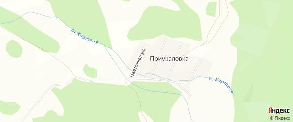 Карта деревни Приураловки в Башкортостане с улицами и номерами домов