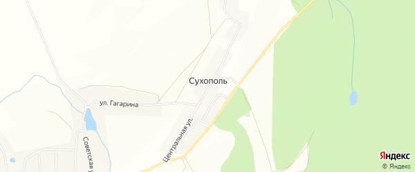 Карта деревни Сухополя в Башкортостане с улицами и номерами домов