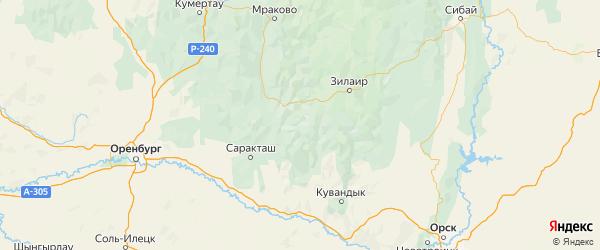 Карта Зианчуринского района республики Башкортостан с городами и населенными пунктами
