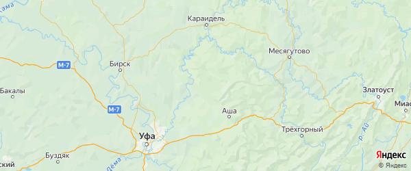 Карта Нуримановского района республики Башкортостан с городами и населенными пунктами