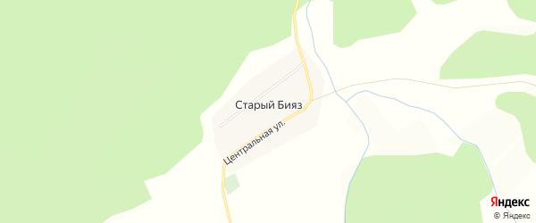 Карта деревни Старого Бияза в Башкортостане с улицами и номерами домов