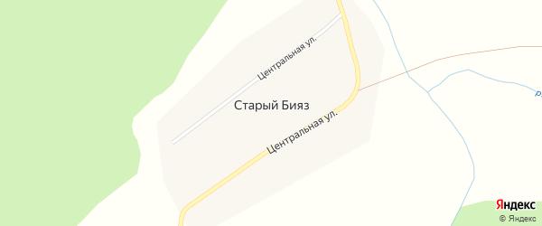 Центральная улица на карте деревни Старого Бияза с номерами домов