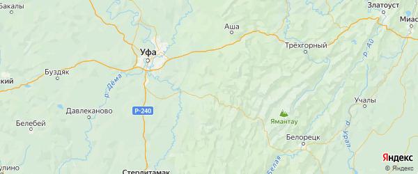 Карта Архангельского района республики Башкортостан с городами и населенными пунктами