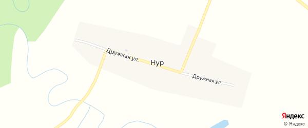 Дружная улица на карте деревни Нура с номерами домов