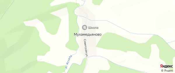 Карта деревни Мухамедьяново в Башкортостане с улицами и номерами домов