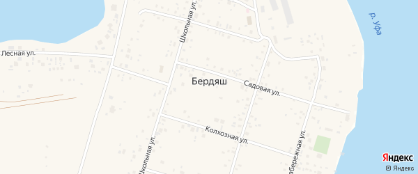 Лесная улица на карте села Бердяша с номерами домов