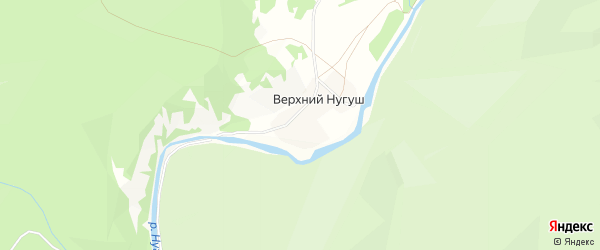 Карта деревни Верхнего Нугуша в Башкортостане с улицами и номерами домов