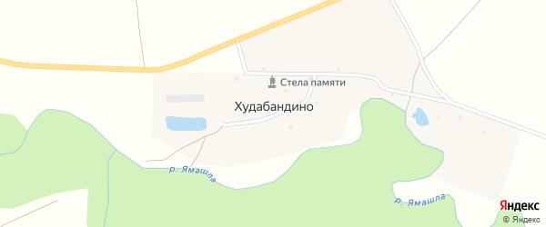 Центральная улица на карте деревни Худабандино с номерами домов