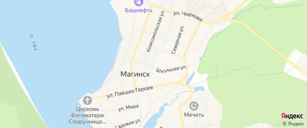 Карта села Магинска в Башкортостане с улицами и номерами домов