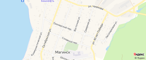 Пионерский переулок на карте села Магинска с номерами домов