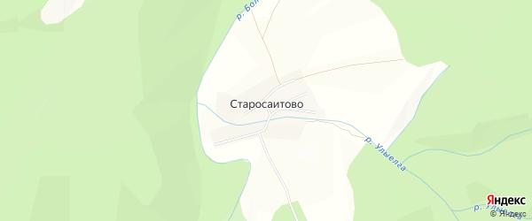 Карта деревни Старосаитово в Башкортостане с улицами и номерами домов