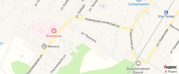 Улица Пушкина на карте села Улу-Теляка с номерами домов