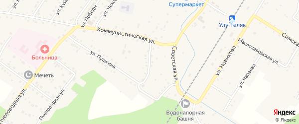 Центральный переулок на карте села Улу-Теляка с номерами домов
