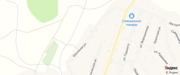 Школьная улица на карте села Улу-Теляка с номерами домов