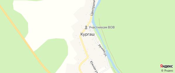 Центральная улица на карте деревни Кургаша с номерами домов