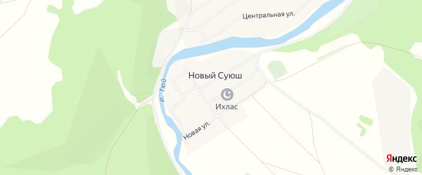 Карта деревни Нового Суюша в Башкортостане с улицами и номерами домов
