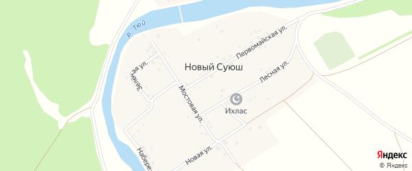 Набережная улица на карте деревни Нового Суюша с номерами домов