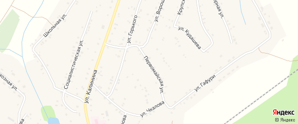 Первомайская улица на карте села Улу-Теляка с номерами домов