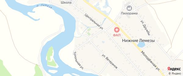 Тополиная улица на карте села Нижние Лемезы с номерами домов