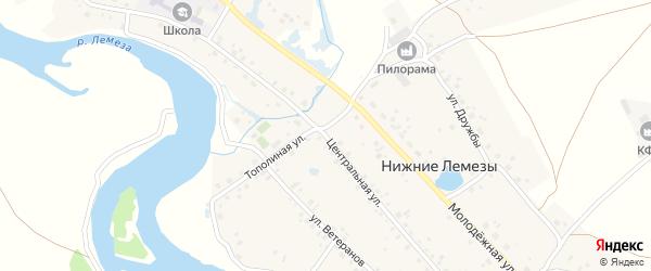 Центральная улица на карте села Нижние Лемезы с номерами домов