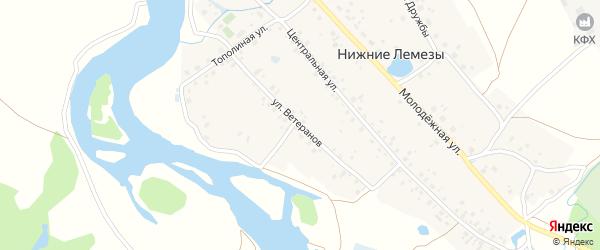 Улица Ветеранов на карте села Нижние Лемезы с номерами домов