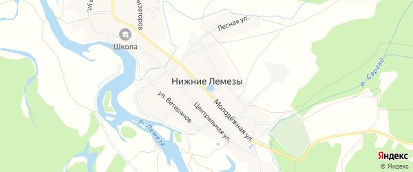Карта села Нижние Лемезы в Башкортостане с улицами и номерами домов