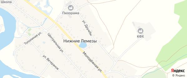 Улица Дружбы на карте села Нижние Лемезы с номерами домов