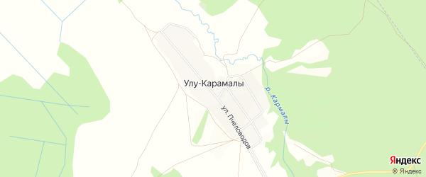 Карта деревни Улу-Карамалы в Башкортостане с улицами и номерами домов