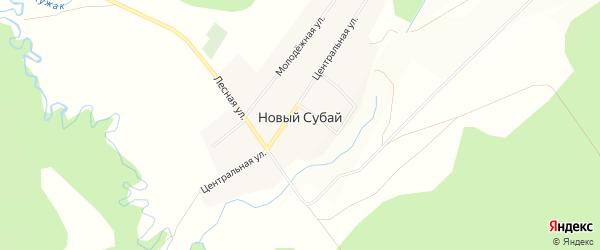 Карта села Нового Субая в Башкортостане с улицами и номерами домов